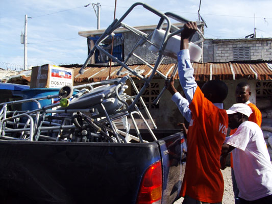 Haiti Relief Fund donates 1 barrel of chlorine bleach, 4 cases of soap, 2 cases of lactate ringers, 1 case of antibiotics, 4 commodes, 6 walkers, and 10 pairs of crutches to Dr. Emille Nadege Director of Hospital L'asile, Department of De- Nippes in the south of Haiti to help in fighting Cholera.
